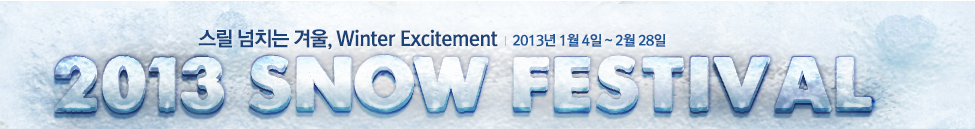 ���� ��ġ�� �ܿ�, Winter Excitement 2013�� 1�� 4�� ~ 2�� 28�� 2013 SNOW FESTIVAL