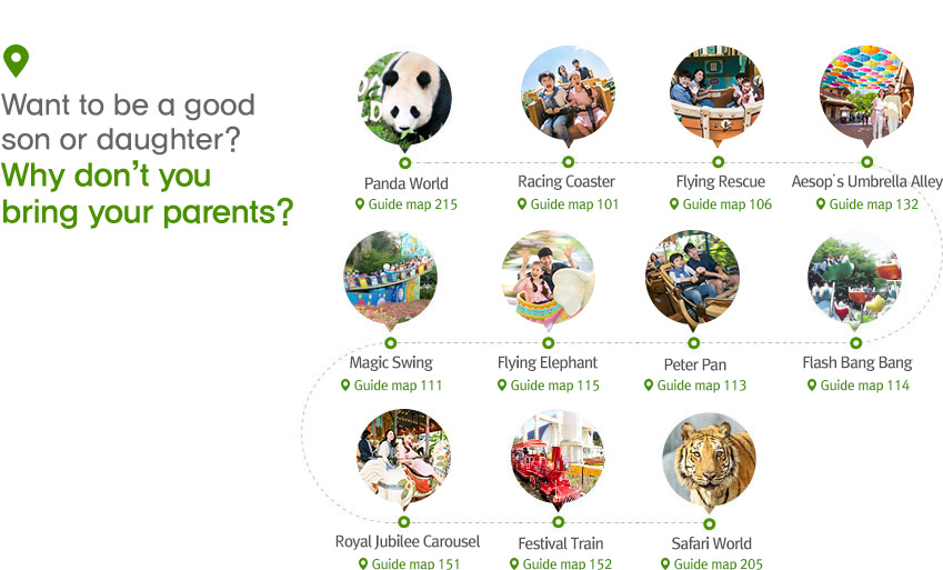 Want to be a good son or daughter? Why don't you bring your parents?  Racing Coaster > Flying Rescue > Global Village > 